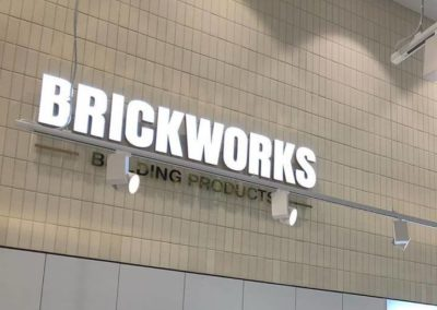 Current Group electricians complete installation of light up sign at Melbourne Brickworks Showroom